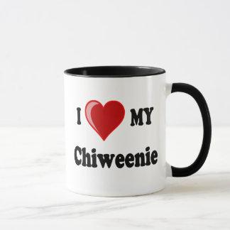 Caneca Eu amo (coração) meu cão de Chiweenie