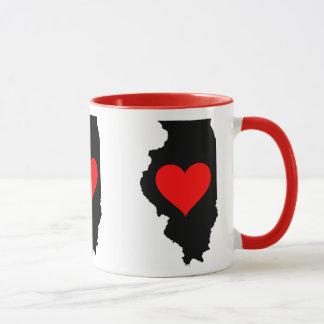 Caneca Eu amo Illinois, coração Illinois de I