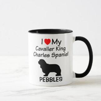 Caneca Eu amo meu cão descuidado do Spaniel de rei