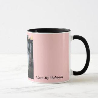 Caneca Eu amo meu Malti-poo, cor-de-rosa