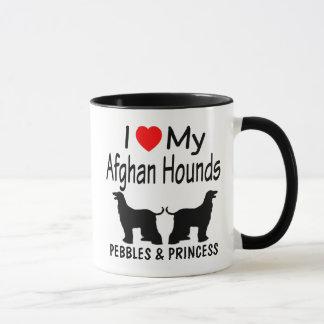 Caneca Eu amo meus DOIS cães de galgo afegão