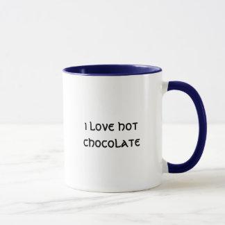 Caneca eu amo o chocolate quente