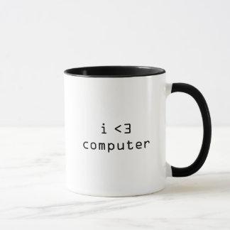 Caneca eu amo o computador que eu deio o computador