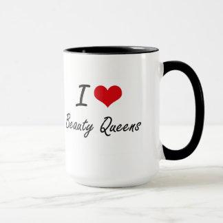 Caneca Eu amo o design artístico das rainhas da beleza