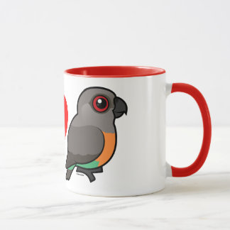 Caneca Eu amo papagaios Vermelho-inchados