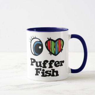 Caneca Eu amo peixes do soprador (do coração)
