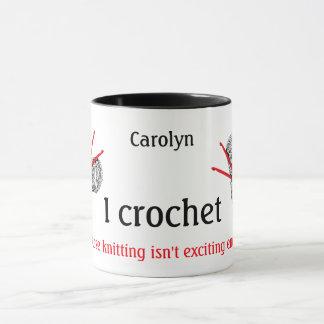 Caneca Eu crochet porque fazer malha não é emocionante
