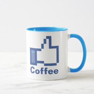Caneca Eu gosto dos polegares do FB Facebook do café