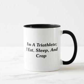 Caneca Eu sou um Triathlete; Eu como, durmo, e excremento