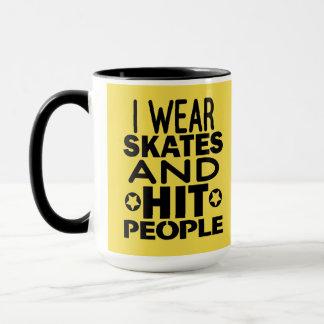 Caneca Eu visto skates e pessoas da batida, rolo Derby