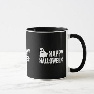 Caneca Fantasma feliz preto e branco do Dia das Bruxas