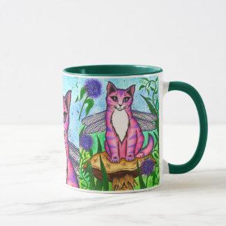 Caneca feericamente da arte da fantasia do gato da