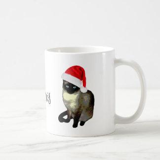 Caneca feia do Natal do gato Siamese da Sra. Garra