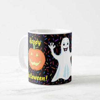 Caneca feliz do Dia das Bruxas do fantasma