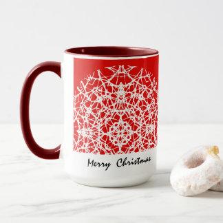 Caneca Feliz Natal bonito branco dos flocos de neve do
