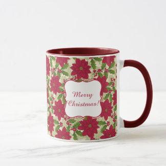 Caneca Feliz Natal poinsétia, azevinho, ramo do pinho