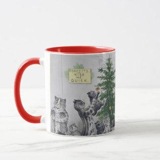 Caneca Festa de Natal dos gatos de Louis Wain do vintage