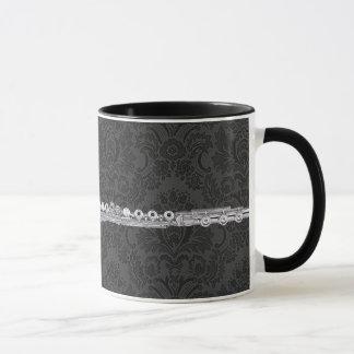Caneca Flauta de prata no damasco preto