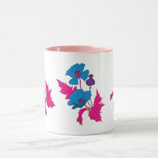 Caneca Flor colorida abstrata da papoila do vetor
