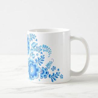 Caneca floral azul 11 onças