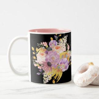 Caneca floral da aguarela colorida impressionante