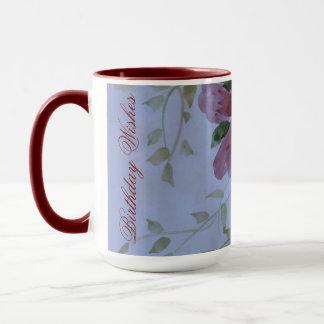 Caneca floral da aguarela do rosa e do arando do