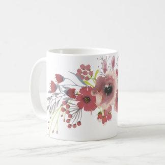 Caneca floral da aguarela simples