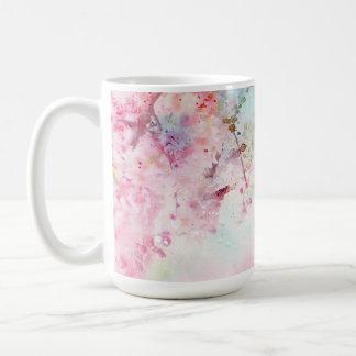 Caneca floral de 15 onças da aguarela cor-de-rosa
