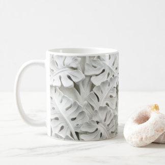Caneca floral do alivio do emplastro branco