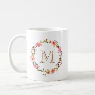Caneca floral do café do monograma