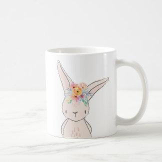 Caneca floral do copo de café do coelho de coelho