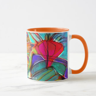 Caneca floral do Cubist abstrato