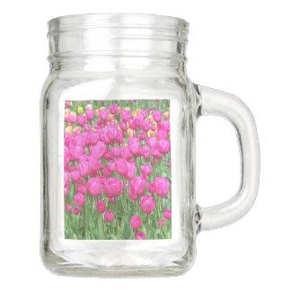 Caneca floral do frasco de pedreiro das tulipas