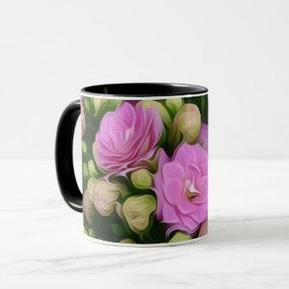 Caneca Flores cor-de-rosa em um copo