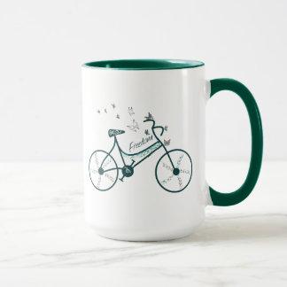 Caneca Flores de borboletas e fã delicados da bicicleta