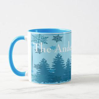 Caneca Floresta da árvore de Natal personalizada
