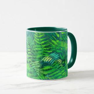 Caneca Folhas, design floral, hortaliças, azul & verde da