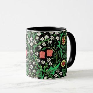 Caneca Fundo floral de William Morris, preto Jacobean