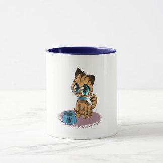 Caneca Gatinho bonito macio brincalhão adorável com olhos