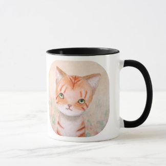 Caneca Gato de gato malhado alaranjado no Pastel chique