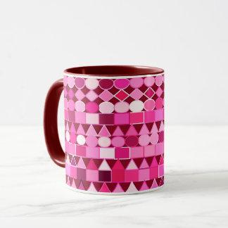 Caneca Geométrico tribal moderno, Borgonha e rosa
