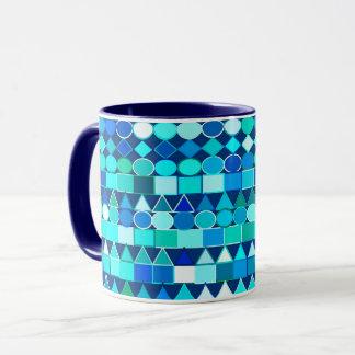 Caneca Geométricos tribal moderno, azuis da sarja de