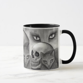 Caneca gótico da arte do gato da fantasia do
