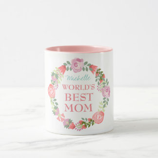 Caneca Grinalda floral da melhor mamã do mundo