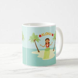 Caneca havaiana bonito da menina de Luau Aloha