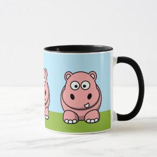 Caneca Hipopótamo cor-de-rosa bonito