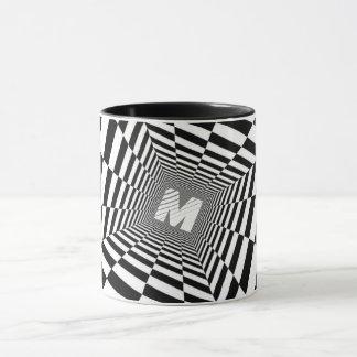 Caneca Ilusão óptica preta & branca, monograma branco