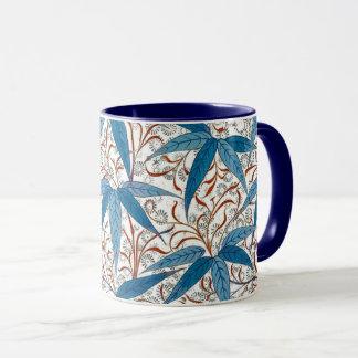 Caneca Impressão de William Morris, azul da sarja de