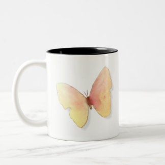 Caneca inspirada da borboleta cor-de-rosa dourada