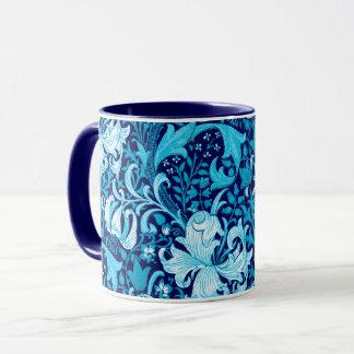 Caneca Íris de William Morris e lírio, azul de índigo